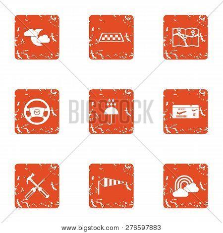 Elaborate Icons Set. Grunge Set Of 9 Elaborate Icons For Web Isolated On White Background