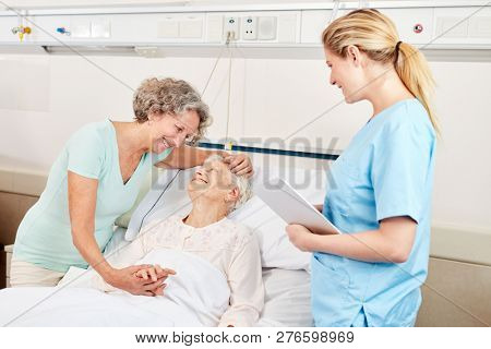 Woman is on sick leave with a senior nurse or hospital
