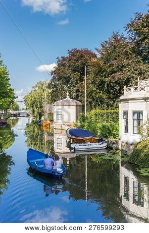 Edam, Netherlands - August 25, 2017: Tourists Taking A Sightseeing Tour In A Boat In Edam, Netherlan