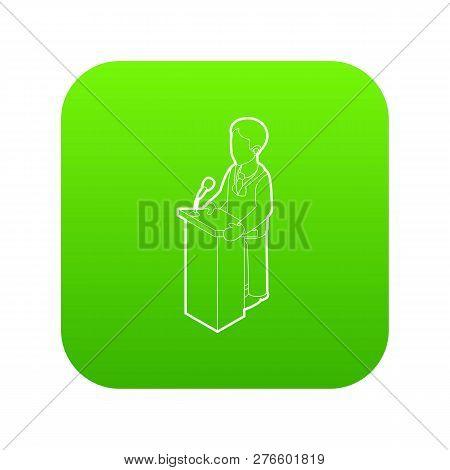 Orator Speaking From Tribune. Outline Illustration Of Orator Speaking From Tribune Icon Green Isolat