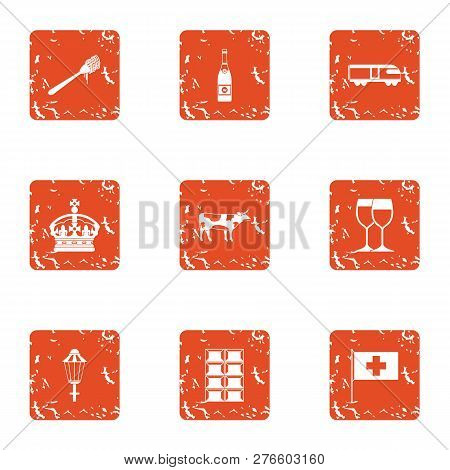 European Government Icons Set. Grunge Set Of 9 European Government Icons For Web Isolated On White B