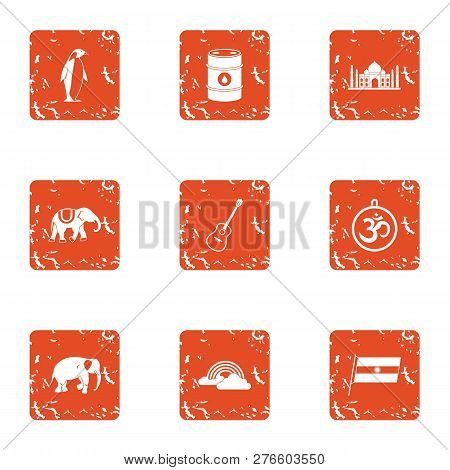 Musliman Stay Icons Set. Grunge Set Of 9 Musliman Stay Icons For Web Isolated On White Background