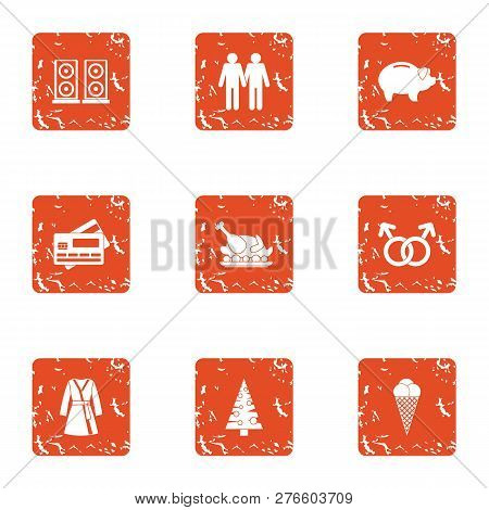 Cash Nexus Icons Set. Grunge Set Of 9 Cash Nexus Icons For Web Isolated On White Background