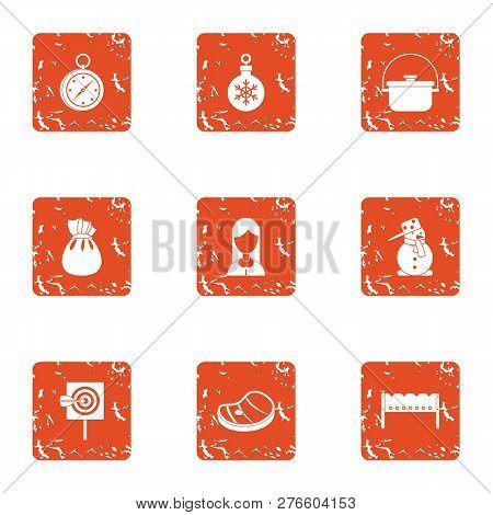 Winter Attitude Icons Set. Grunge Set Of 9 Winter Attitude Icons For Web Isolated On White Backgroun
