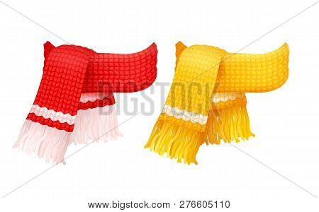 Pair Of Yellow And Red Knitted Scarves With White Woolen Threads Vector Icons. Winter Thick Chunky Y