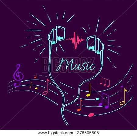 Music Poster With Treble Clef, Notes Set And Headphones Performing Loud Sounds Vector Doodles In Fla