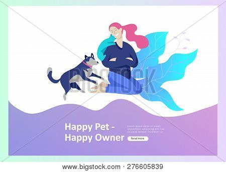 Set Of Landing Page Templates With Vector Symbol. Happy People With Their Pets, A Cat Loves Its Owne