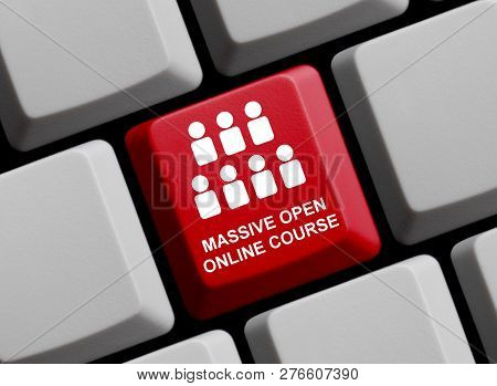 Red Computer Keyboard With Persons Showing Massive Open Online Course