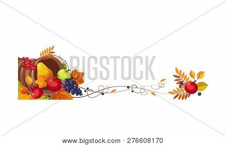 Thanksgiving Banner With Cornucopia And Space For Text, Autumn Fruits And Leaves Vector Illustration
