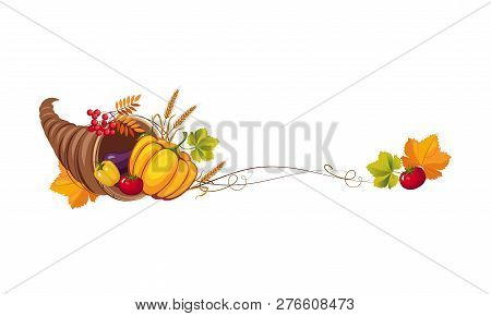 Thanksgiving Banner With Cornucopia And Space For Text, Autumn Vegetables And Leaves Vector Illustra