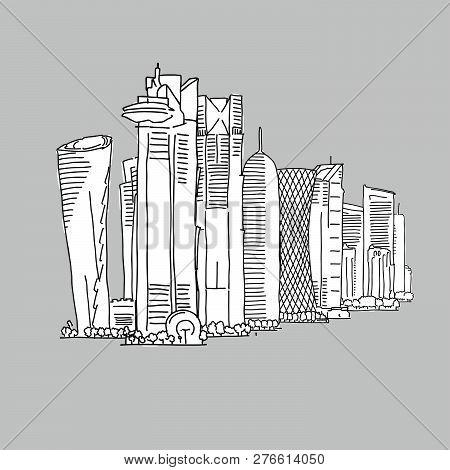 Doha Qatar Famous Architecture. Hand-drawn Vector Illustration. Famous Travel Destinations Series.