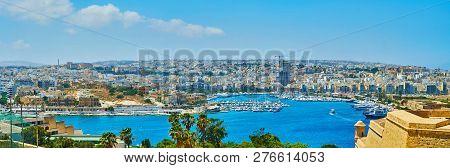 Panorama From St Michael Bastion, Valletta, Malta