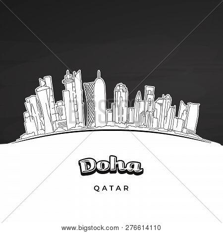 Doha Qatar Skyline Outline. Hand-drawn Vector Illustration. Famous Travel Destinations Series.