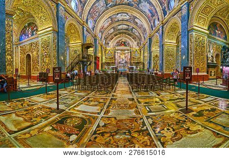 Valletta, Malta - June 18, 2018: The Richly Decorated Floor Of St John Co-cathedral With Colorful In