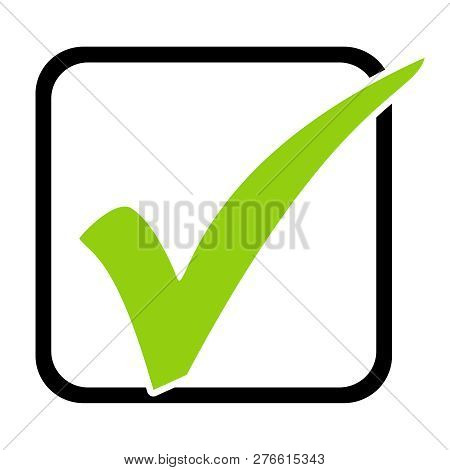 Isolated Green Tick Icon In Black Box