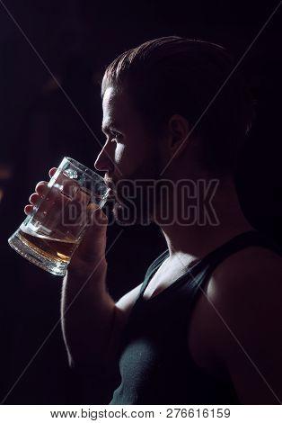 The Best Beer After A Long Day At Work. Beer Restaurant. Man Drinker In Pub. Handsome Man Drink Beer