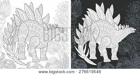 Coloring Page. Dinosaur Collection. Colouring Picture With Stegosaurus Drawn In Zentangle Style.