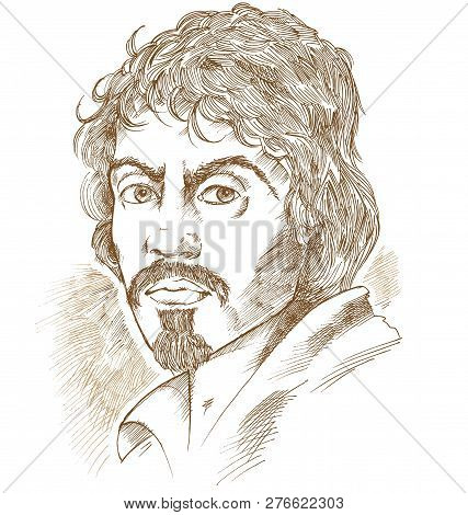 Hand Drawn Vector Portrait Isolated On White Bacground.caravaggio