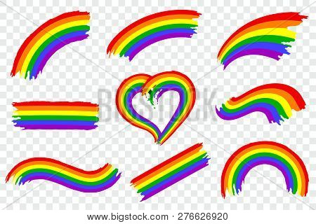Set Of Lgbt Pride Color Splash Isolated On Transparent Background. Dynamic Rough Paint Brush Stroke