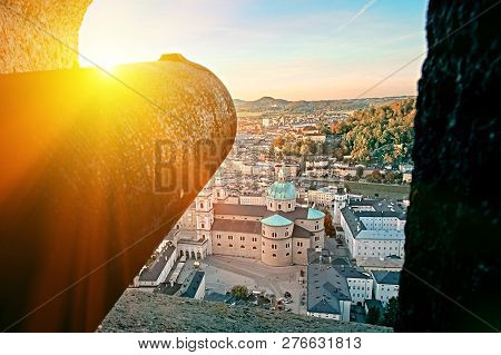 Awesome Sunset View On Salzburg, Austria, Europe. City In Alps Of Mozart Birth. View Of Salzburg Sky