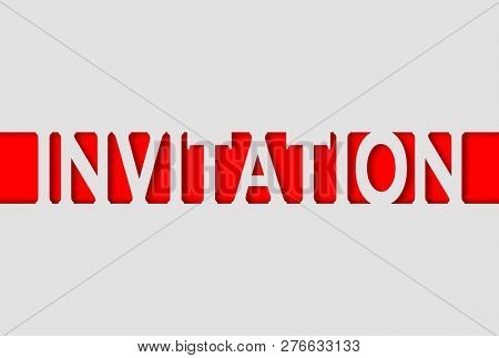 Invitation word with paper cut out effects