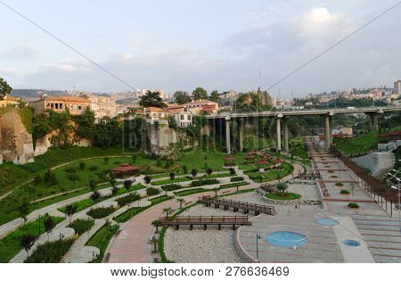 TRABZON, TURKEY - AUGUST 14, 2008: Zagnos Valley Park, new recreation zone at the city walls of Trabzon. Promenades, amphitheater, duck ponds and gardens make it popular among locals