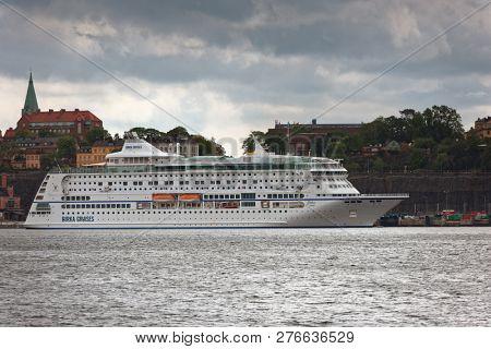 STOCKHOLM. SWEDEN - SEPTEMBER 10, 2018: Cruise ship Birka Stockholm moored at Birka Cruises terminal. Built in 2004, the cruise ship has passenger capacity of 1,800