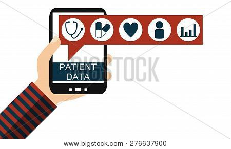 Isolated Hand Holding Smartphone: Patient Data - Flat Design
