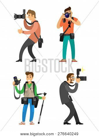 Photographers Or Paparazzi With Cameras On Tripod Taking Pictures. Photojournalists Carrying Equipme