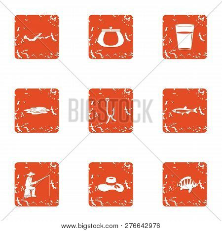Rest On The Shore Icons Set. Grunge Set Of 9 Rest On The Shore Icons For Web Isolated On White Backg