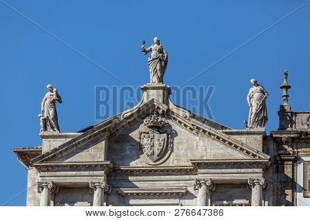 Porto / Portugal - 10/02/2018 : Detailed View Of A Pediment Church, Third Order Of San Francisco On
