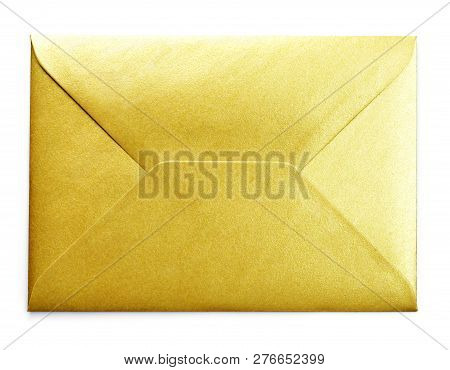 Golden Envelope With Copy Space, Isolated On White Background. Shiny Gold Envelope, Greeting Card Or