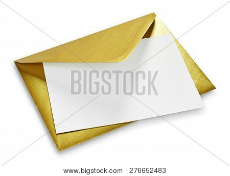 Golden Envelope And White Card With Copy Space, Isolated On White Background. Shiny Gold Envelope, G