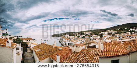 Cadaques, Province Of Girona, Catalonia, Spain. Panoramic View Cityscape.