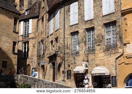 Sarlat, France - September 2, 2018: Historic Houses Surrounding Place De La Liberte In  Sarlat La Ca