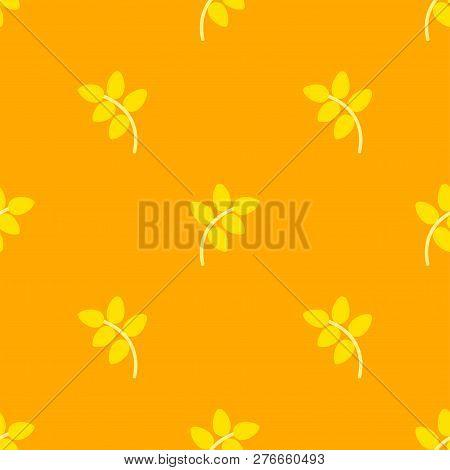 Flat Simple Bright Yellow Rye Corp, Seamless Pattern, On Orange Background.