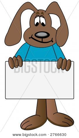 Dog Cartoon Holding Sign