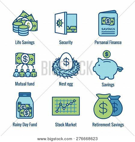 Retirement Account & Savings Icon Set - Mutual Fund, Roth IRA, etc poster
