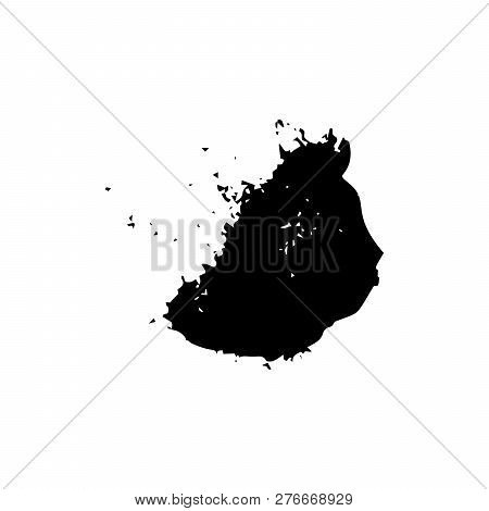 Ebony Ink Blob. Black Blotch On White Background. Ink Splatter With Droppings. Black Paint Spilled D