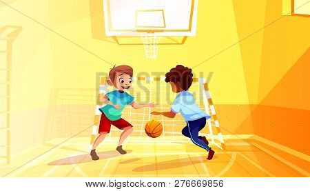 Boys Playing Basketball Illustration Of Black Afro American Kid With Ball In School Gymnasium. Littl