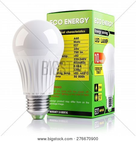 Energy Saving Led Lamp And Packaging Isolated On White Background 3d