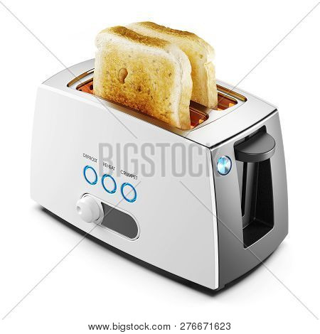 Two Toasts Of Bread In A Toaster Isolated On White Background 3d