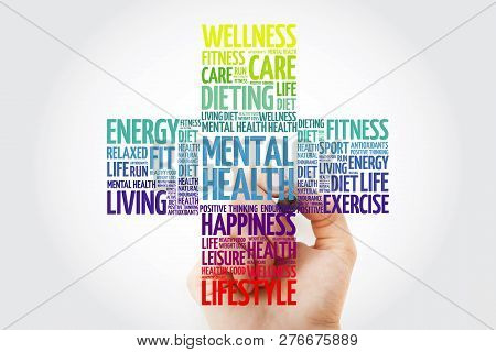 Mental Health Cross Word Cloud With Marker, Health Concept Background