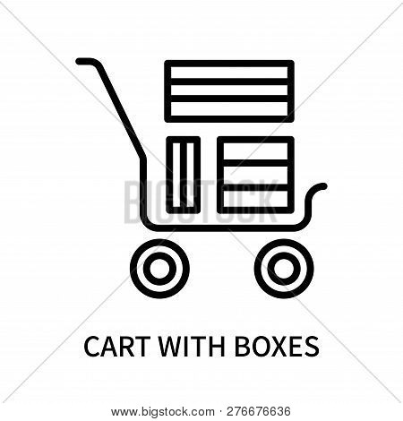 Cart With Boxes Icon Isolated On White Background. Cart With Boxes Icon Simple Sign. Cart With Boxes