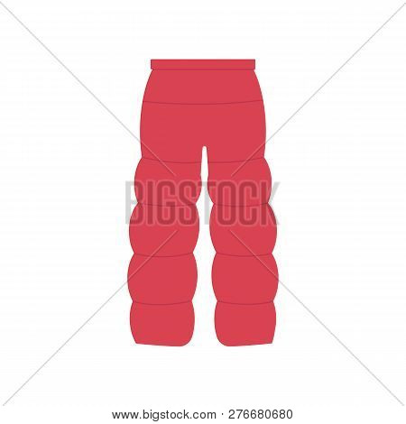 Vector illustration of winter blown pants in flat style - warm pink clothing for walking or sports. poster