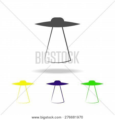 Flying Saucer Multicolored Icons. Element Of Ufo Icon Can Be Used For Web, Logo, Mobile App, Ui, Ux