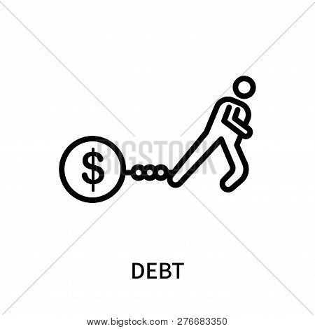 Debt Icon Isolated On White Background. Debt Icon Simple Sign. Debt Icon Trendy And Modern Symbol Fo