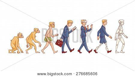 Vector People Evolution From Monkey To Robot