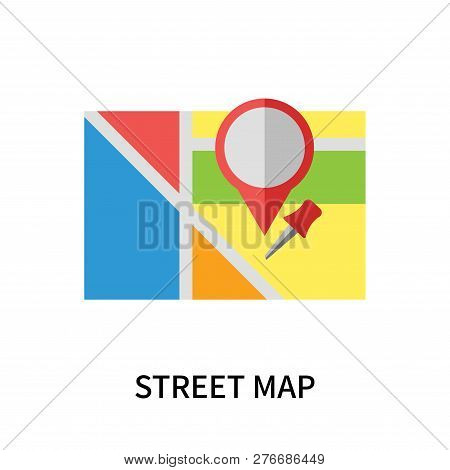 Street Map Icon Isolated On White Background. Street Map Icon Simple Sign. Street Map Icon Trendy An