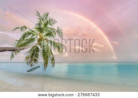 Exotic Beach Sunset, Fantastic Rainbow And Colorful Sky. Calm Blue Sea Water, In Shallow Lagoon With